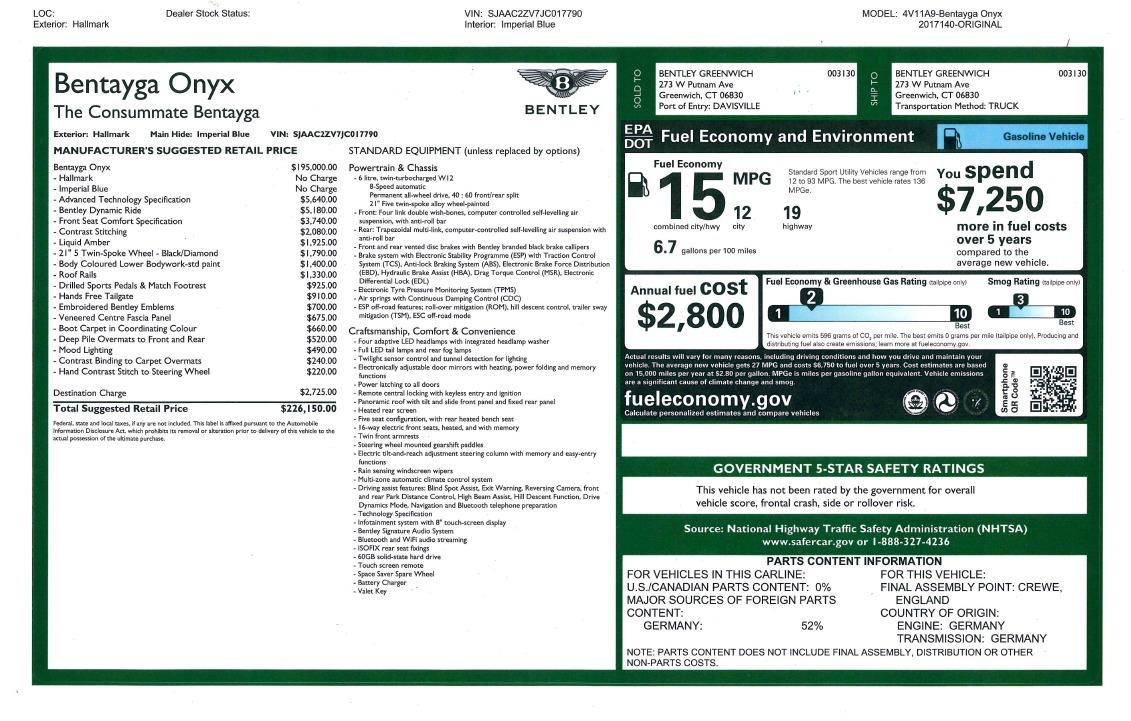 New 2018 Bentley Bentayga Onyx For Sale In Greenwich, CT. Alfa Romeo of Greenwich, B1256 1220_p47