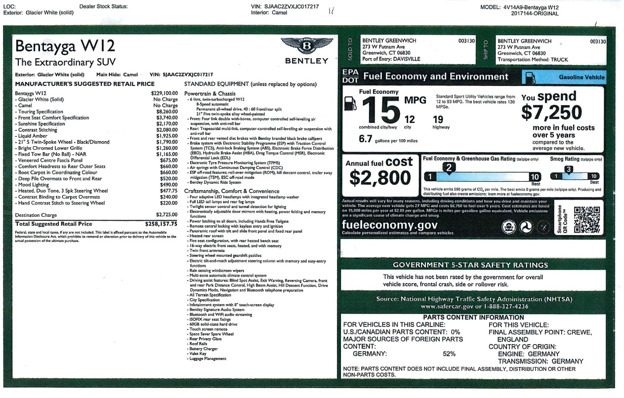 New 2018 Bentley Bentayga W12 Signature For Sale In Greenwich, CT. Alfa Romeo of Greenwich, B1275 1358_p32