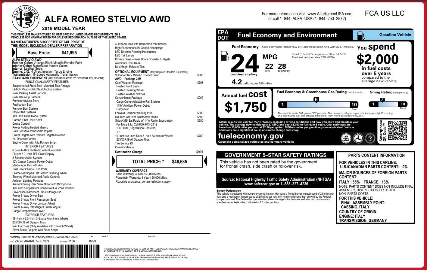 New 2018 Alfa Romeo Stelvio Q4 For Sale In Greenwich, CT. Alfa Romeo of Greenwich, L194 1441_p26