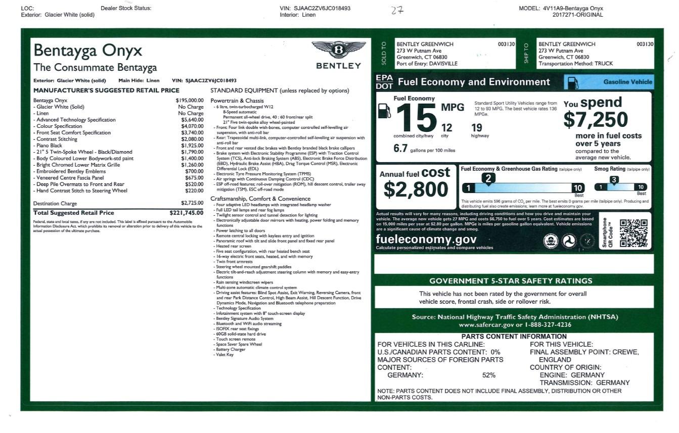 Used 2018 Bentley Bentayga Onyx For Sale In Greenwich, CT. Alfa Romeo of Greenwich, 7485 1549_p31