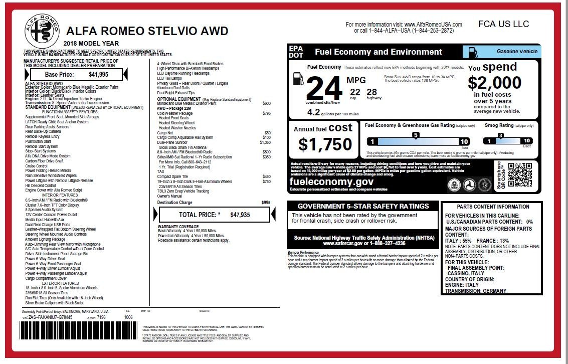 New 2018 Alfa Romeo Stelvio Q4 For Sale In Greenwich, CT. Alfa Romeo of Greenwich, LW044 1590_p26