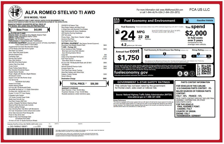 New 2018 Alfa Romeo Stelvio Ti Q4 For Sale In Greenwich, CT. Alfa Romeo of Greenwich, LW040 1594_p26