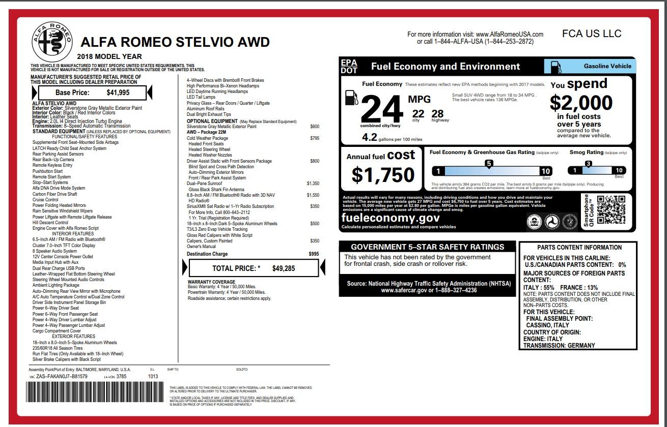 New 2018 Alfa Romeo Stelvio Q4 For Sale In Greenwich, CT. Alfa Romeo of Greenwich, L237 1624_p26