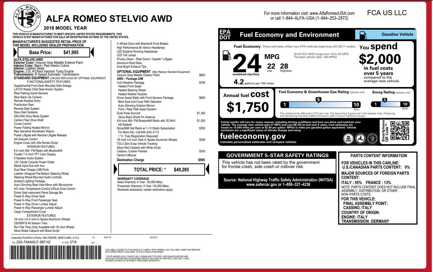 New 2018 Alfa Romeo Stelvio Q4 For Sale In Greenwich, CT. Alfa Romeo of Greenwich, L246 1637_p26