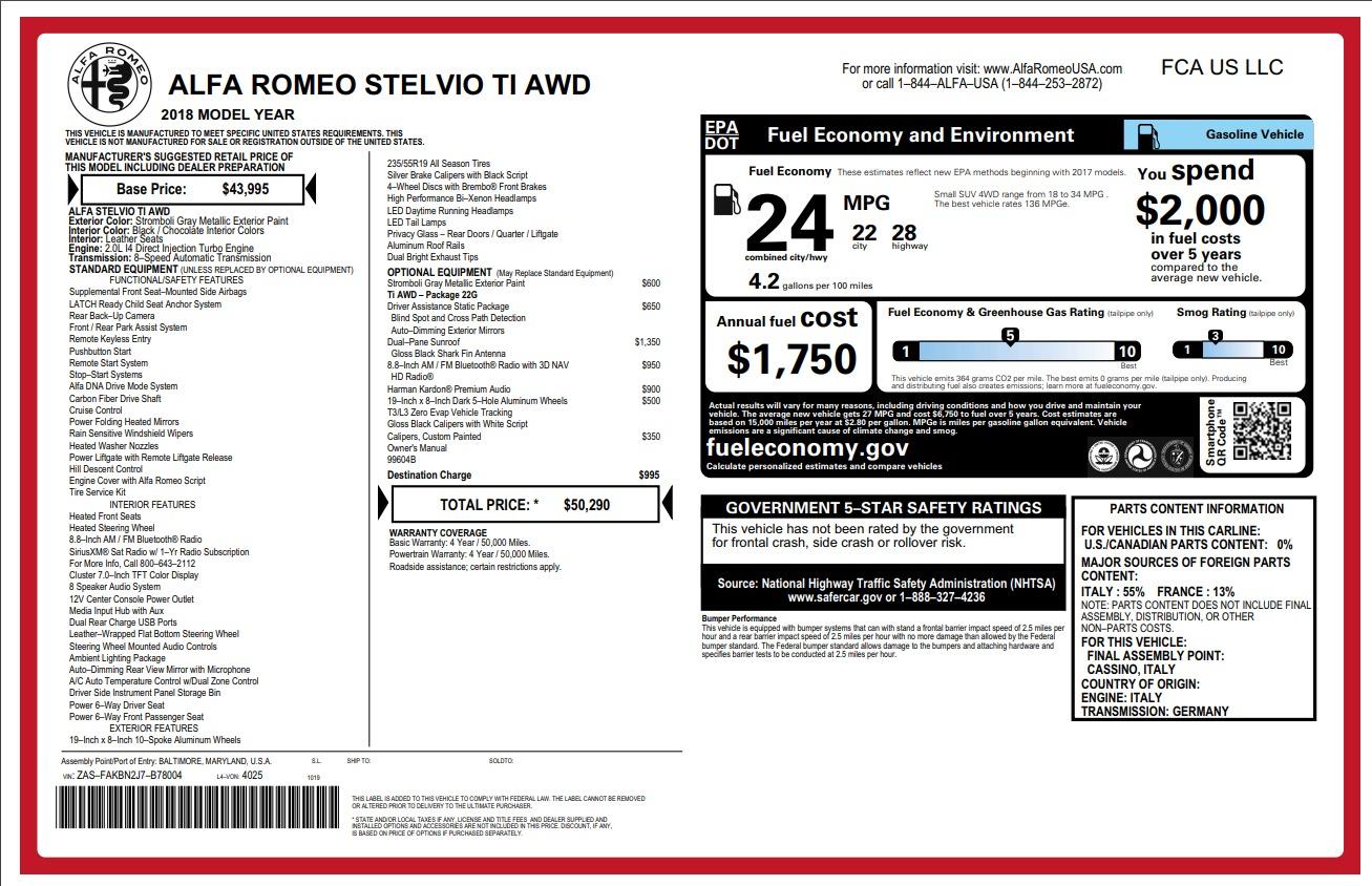 New 2018 Alfa Romeo Stelvio Ti Q4 For Sale In Greenwich, CT. Alfa Romeo of Greenwich, L250 1641_p2