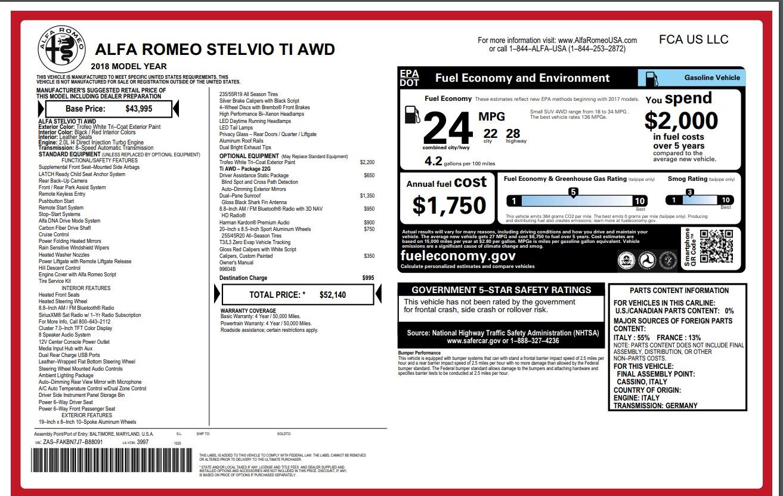New 2018 Alfa Romeo Stelvio Ti Q4 For Sale In Greenwich, CT. Alfa Romeo of Greenwich, L265 1679_p26