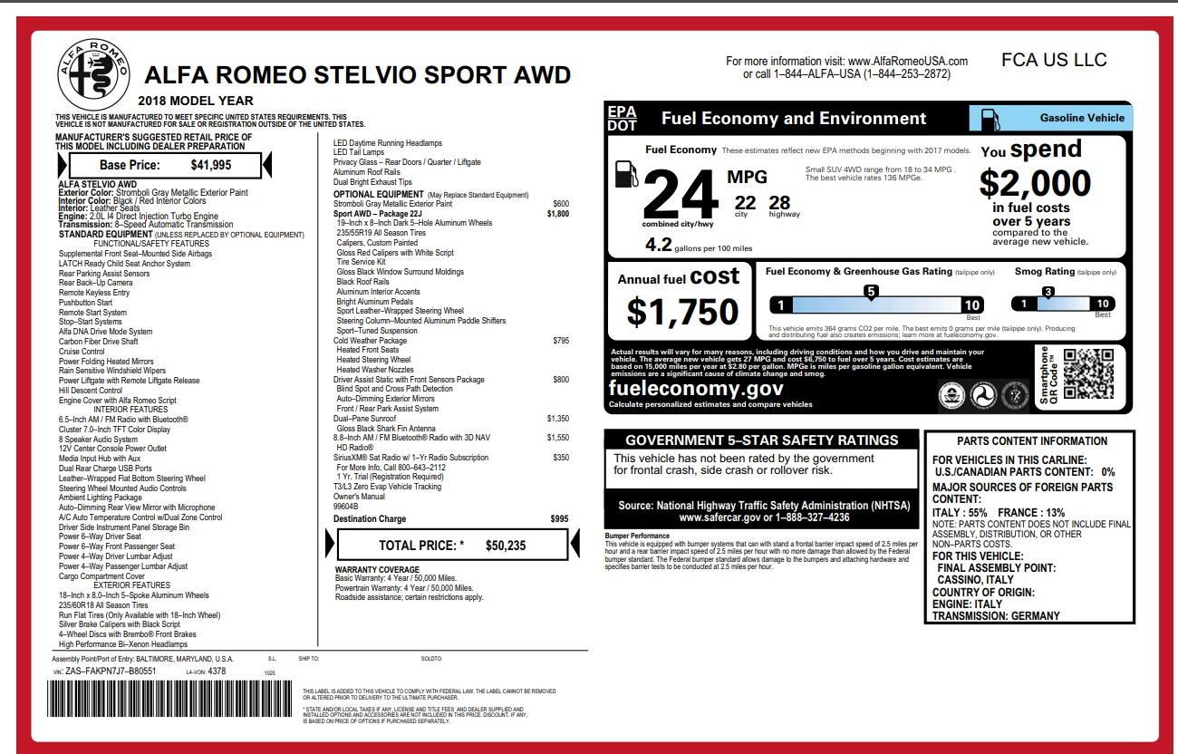 New 2018 Alfa Romeo Stelvio Sport Q4 For Sale In Greenwich, CT. Alfa Romeo of Greenwich, L258 1686_p26