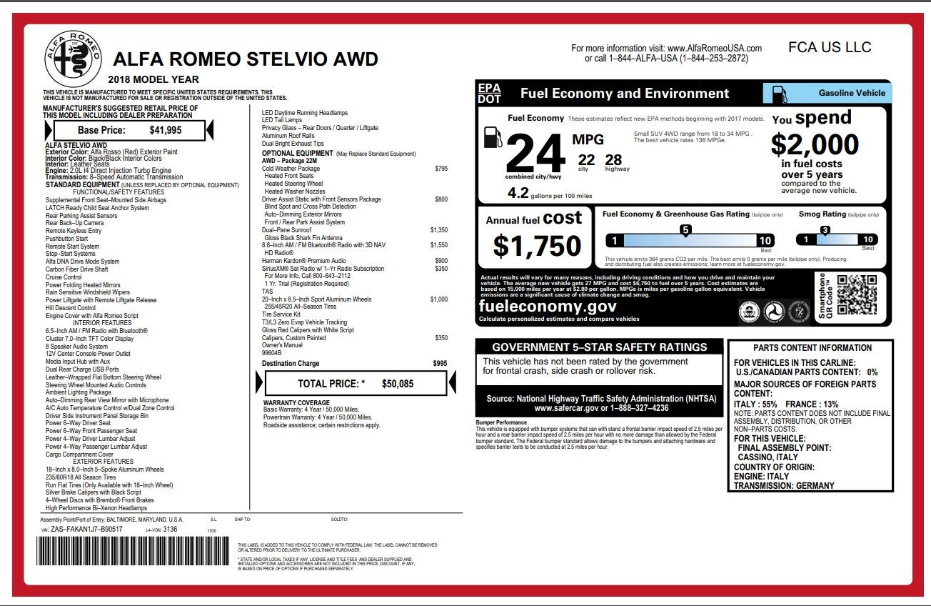 New 2018 Alfa Romeo Stelvio Q4 For Sale In Greenwich, CT. Alfa Romeo of Greenwich, L275 1726_p26
