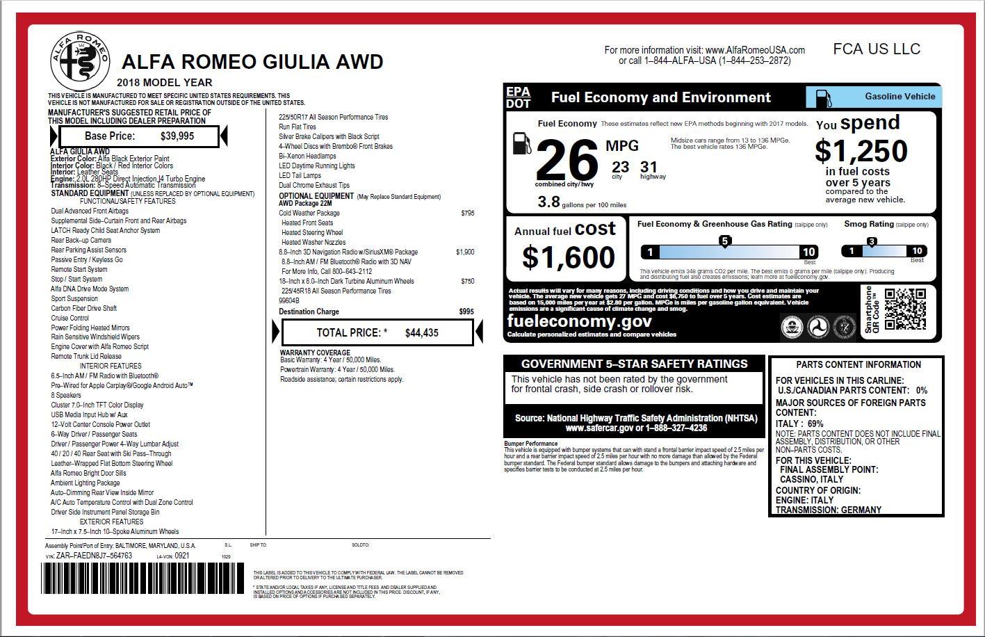 New 2018 Alfa Romeo Giulia Q4 For Sale In Greenwich, CT. Alfa Romeo of Greenwich, L278 1757_p26
