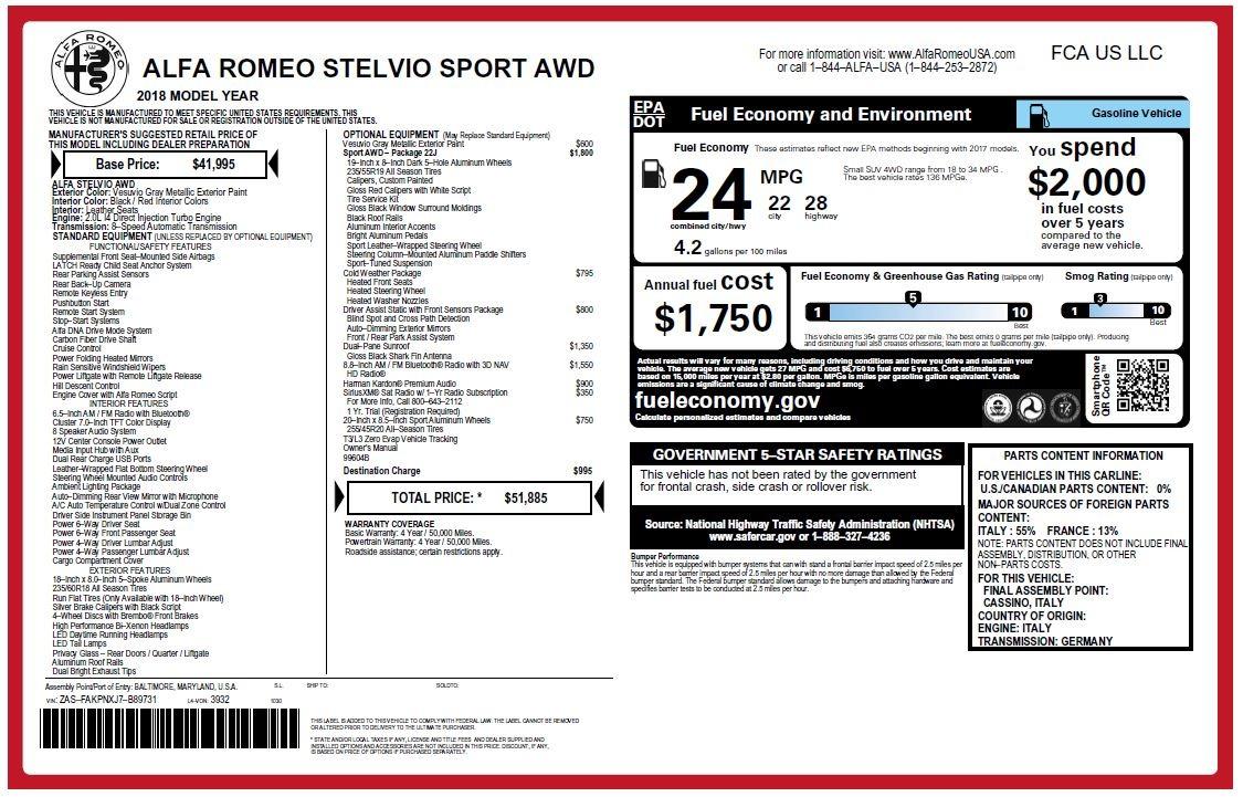 New 2018 Alfa Romeo Stelvio Sport Q4 For Sale In Greenwich, CT. Alfa Romeo of Greenwich, LW080 1761_p26