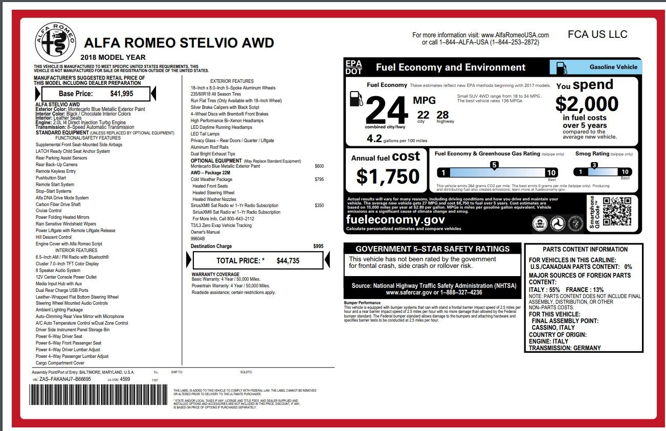 New 2018 Alfa Romeo Stelvio Q4 For Sale In Greenwich, CT. Alfa Romeo of Greenwich, L299 1780_p26