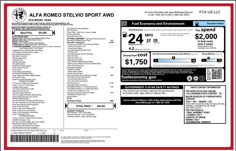 New 2018 Alfa Romeo Stelvio Sport Q4 For Sale In Greenwich, CT. Alfa Romeo of Greenwich, L316 1836_p26
