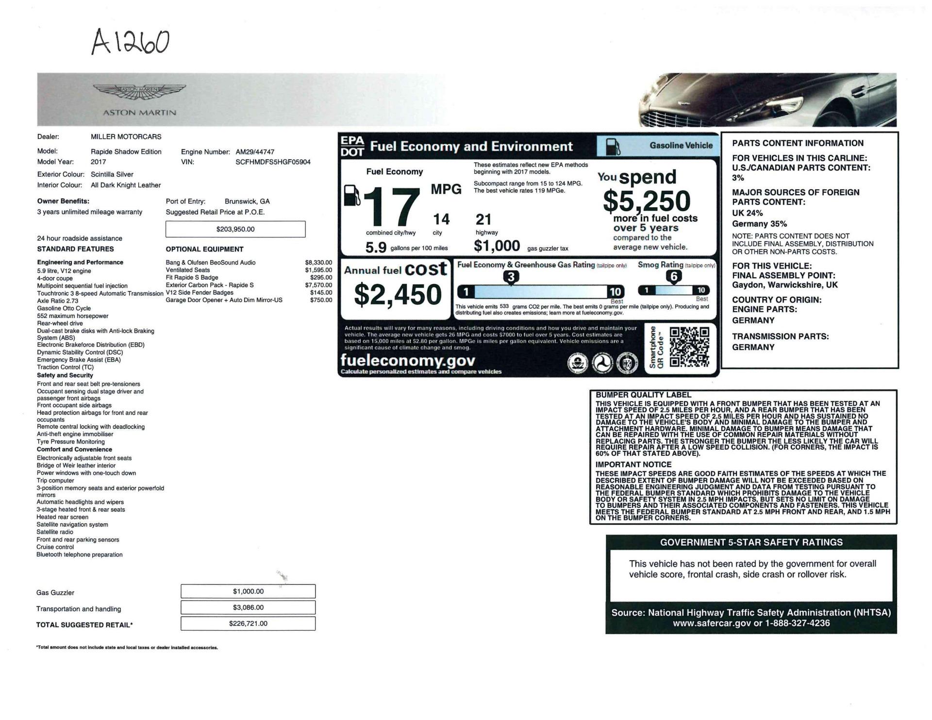 Used 2017 Aston Martin Rapide S Sedan For Sale In Greenwich, CT. Alfa Romeo of Greenwich, A1260B 1843_p23