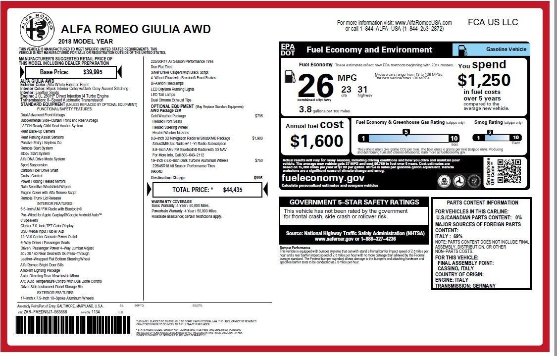 New 2018 Alfa Romeo Giulia Q4 For Sale In Greenwich, CT. Alfa Romeo of Greenwich, LW101 1848_p26
