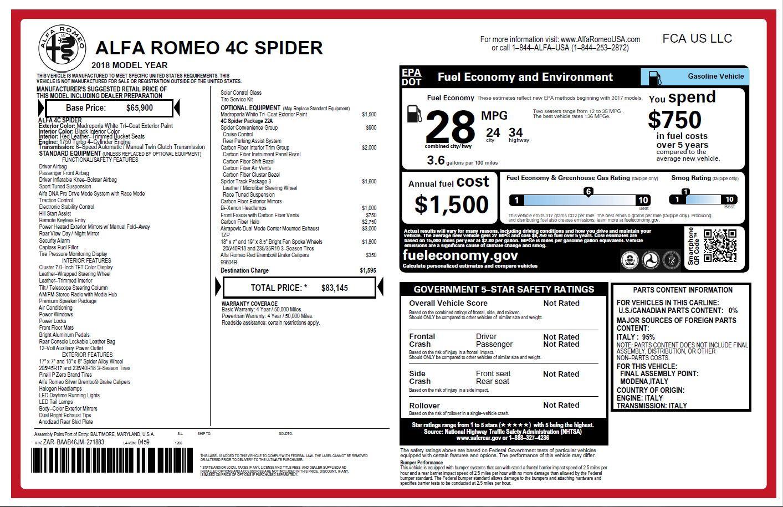 New 2018 Alfa Romeo 4C Spider For Sale In Greenwich, CT. Alfa Romeo of Greenwich, L323 1878_p28