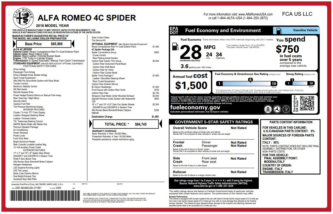 New 2018 Alfa Romeo 4C Spider For Sale In Greenwich, CT. Alfa Romeo of Greenwich, LW105 1880_p26