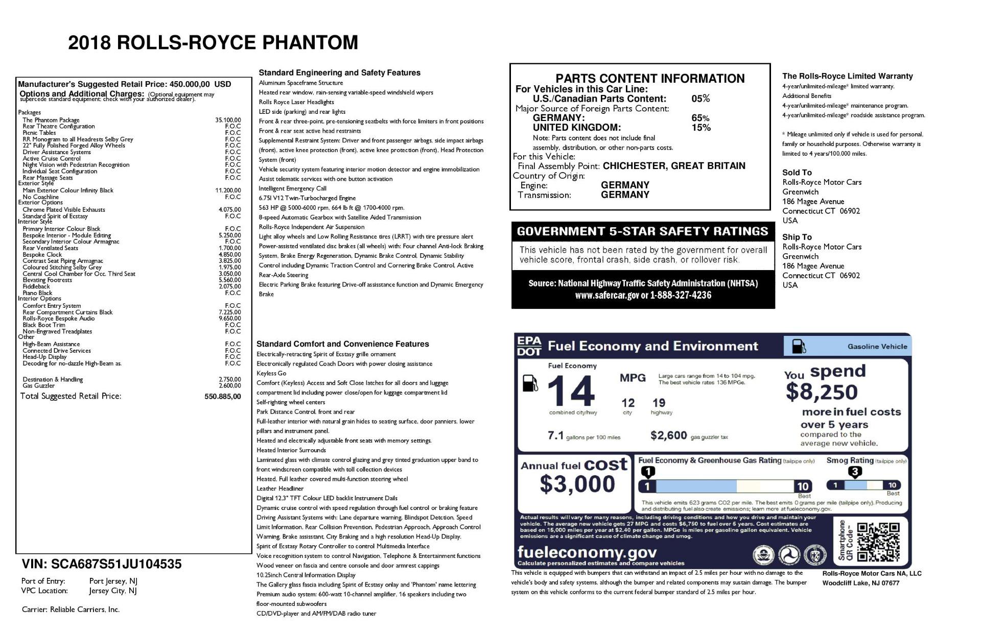Used 2018 Rolls-Royce Phantom  For Sale In Greenwich, CT. Alfa Romeo of Greenwich, R447 1958_p23