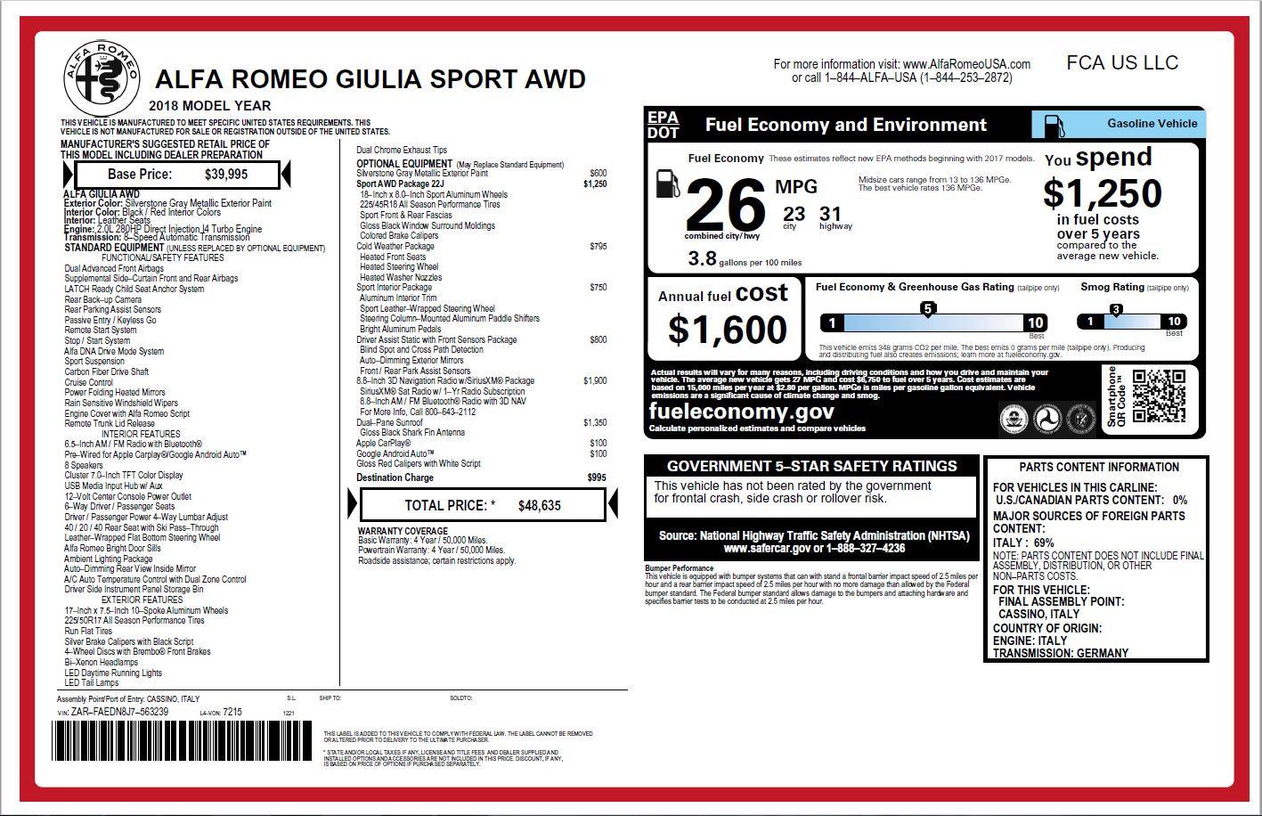 New 2018 Alfa Romeo Giulia Ti Sport Q4 For Sale In Greenwich, CT. Alfa Romeo of Greenwich, L334 2003_p26