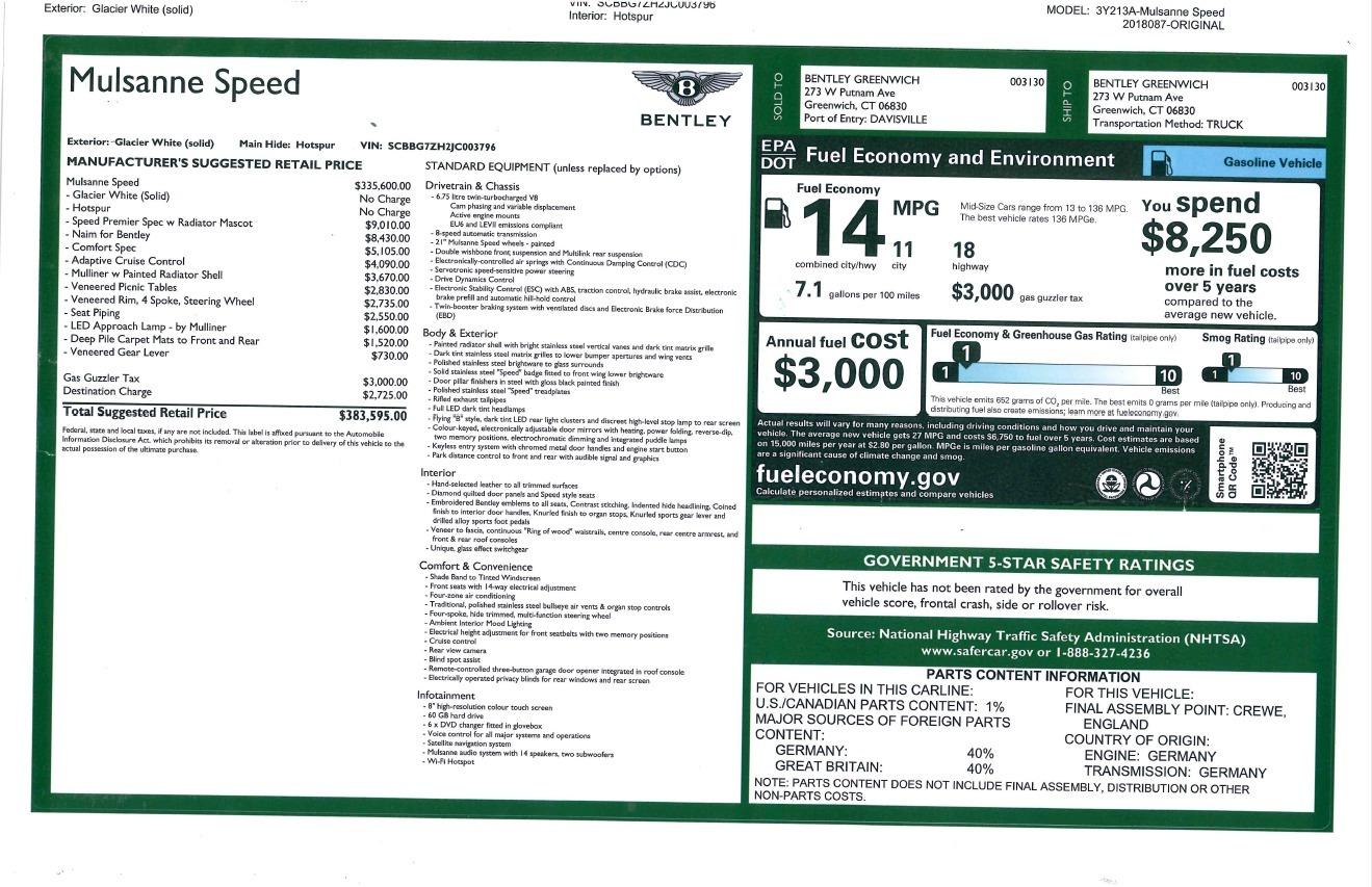 New 2018 Bentley Mulsanne Speed For Sale In Greenwich, CT. Alfa Romeo of Greenwich, B1350 2075_p32