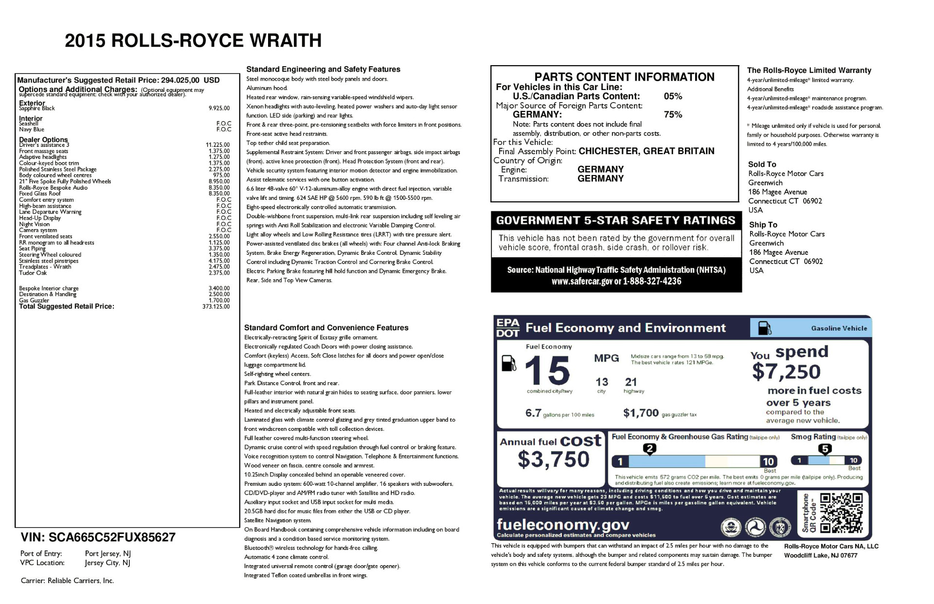 Used 2015 Rolls-Royce Wraith  For Sale In Greenwich, CT. Alfa Romeo of Greenwich, 7599 2099_p29