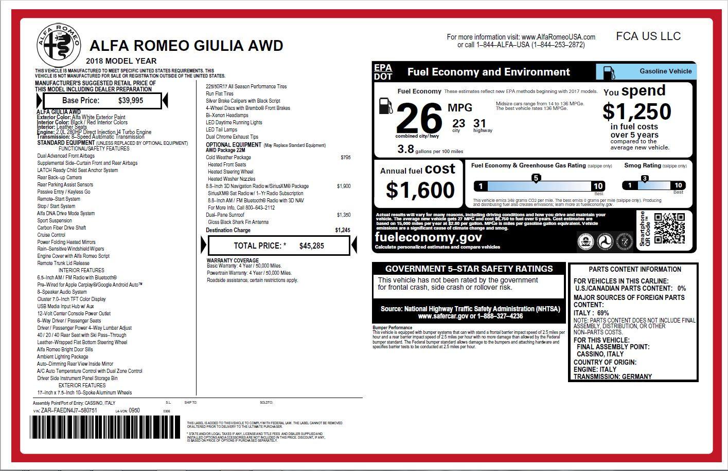 New 2018 Alfa Romeo Giulia Q4 For Sale In Greenwich, CT. Alfa Romeo of Greenwich, L374 2142_p26
