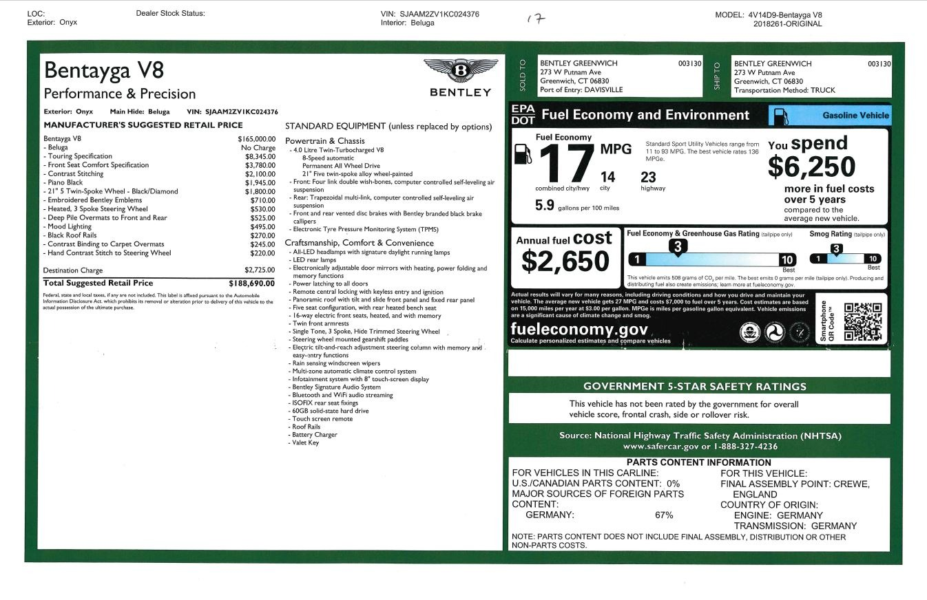 New 2019 Bentley Bentayga V8 For Sale In Greenwich, CT. Alfa Romeo of Greenwich, B1366 2160_p32