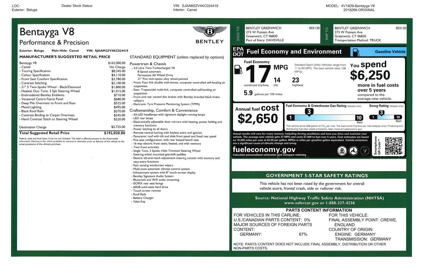 New 2019 Bentley Bentayga V8 For Sale In Greenwich, CT. Alfa Romeo of Greenwich, B1368 2164_p32