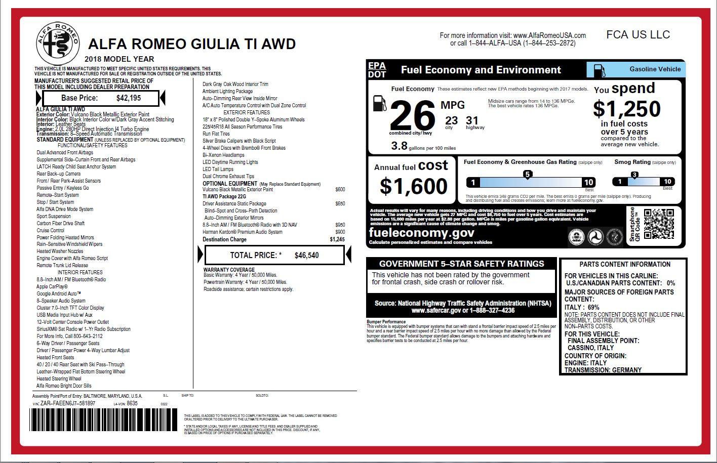 New 2018 Alfa Romeo Giulia Ti Q4 For Sale In Greenwich, CT. Alfa Romeo of Greenwich, L382 2174_p26