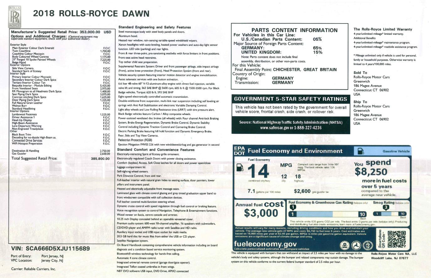 Used 2018 Rolls-Royce Dawn  For Sale In Greenwich, CT. Alfa Romeo of Greenwich, 7445 2179_p32