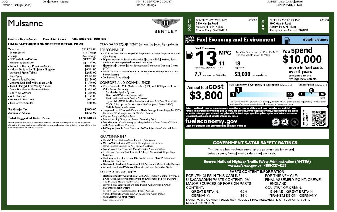 Used 2016 Bentley Mulsanne  For Sale In Greenwich, CT. Alfa Romeo of Greenwich, 7355 2189_p26