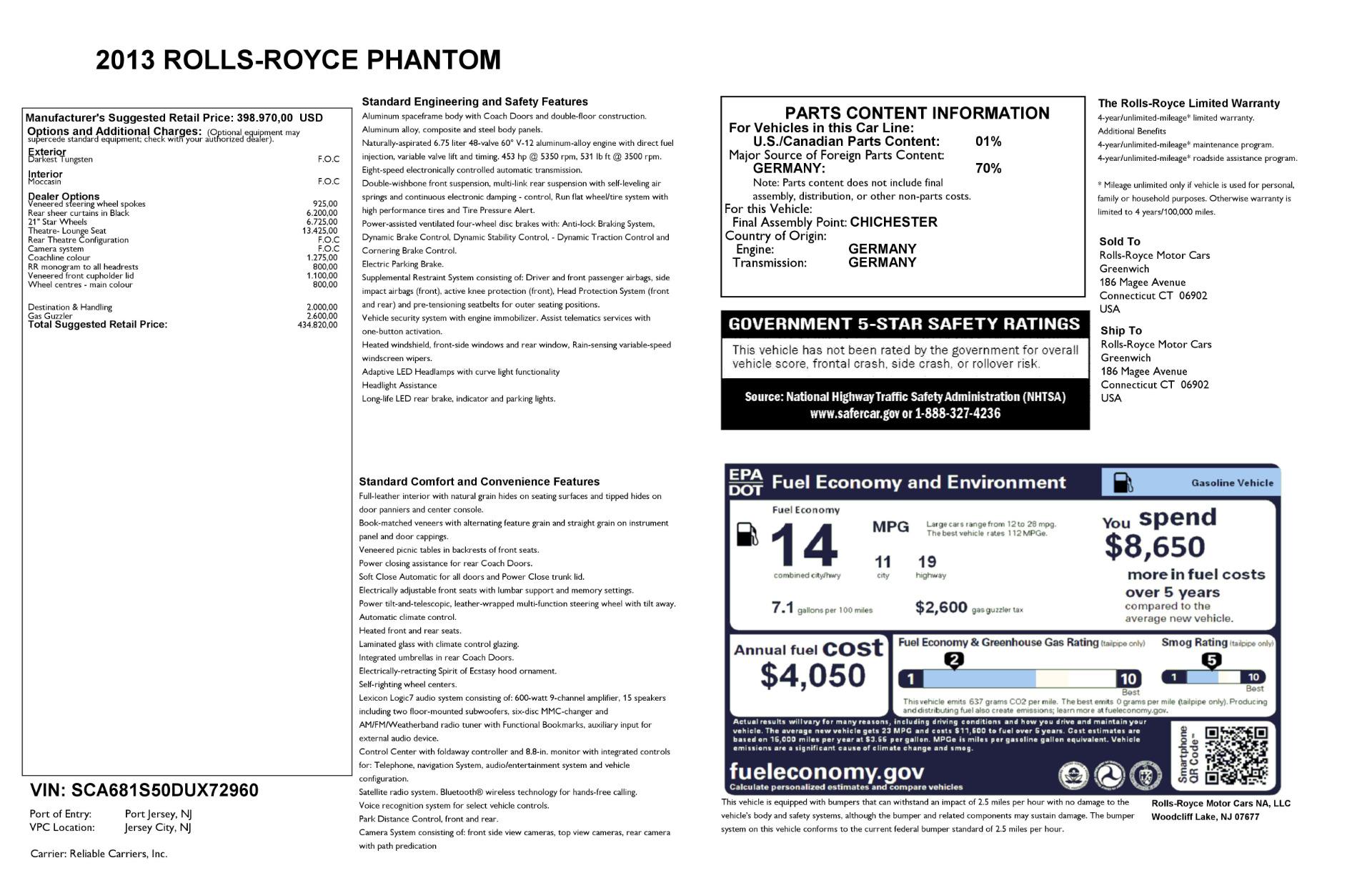 Used 2013 Rolls-Royce Phantom  For Sale In Greenwich, CT. Alfa Romeo of Greenwich, 7353 2208_p24