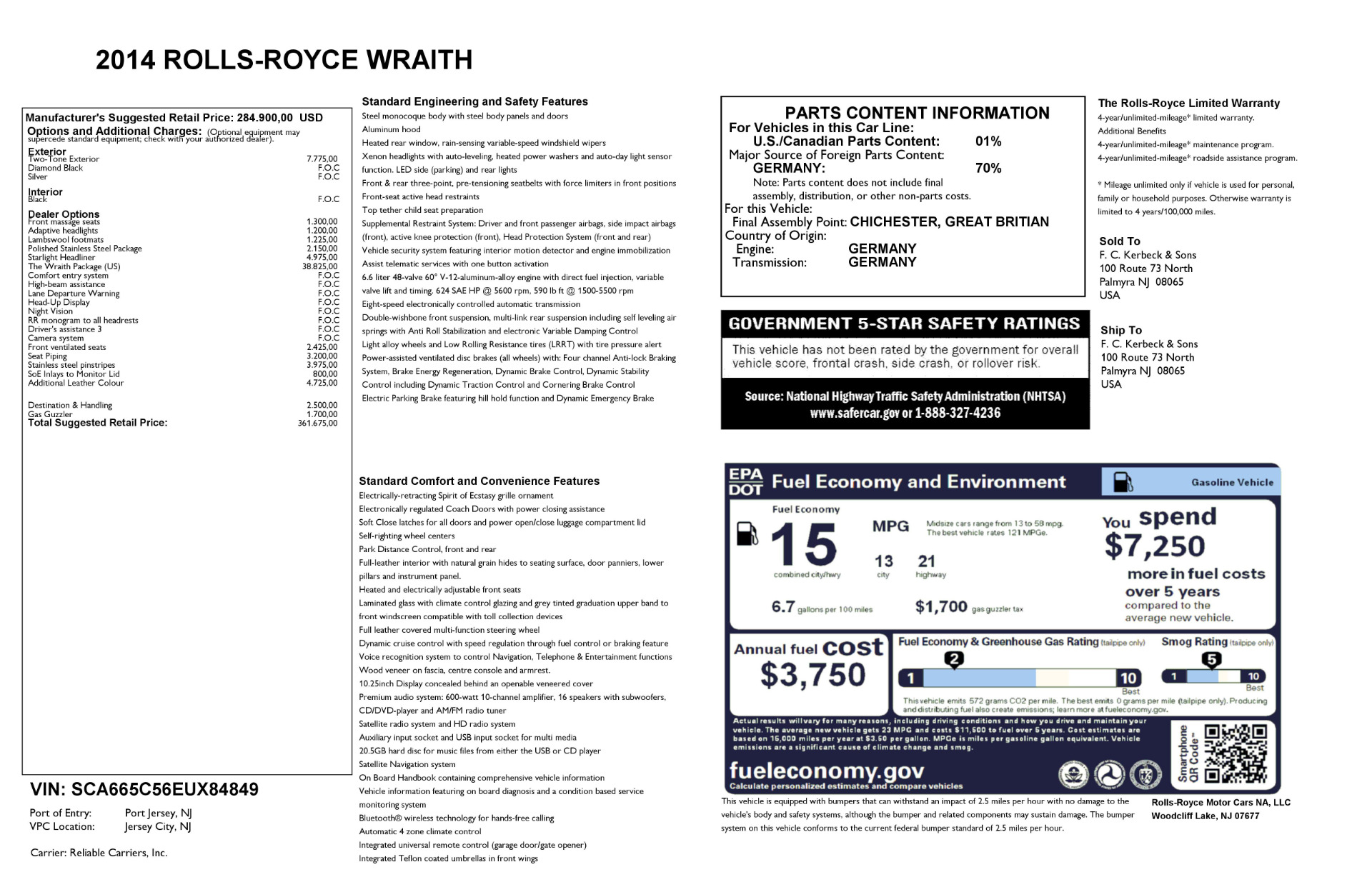 Used 2014 Rolls-Royce Wraith  For Sale In Greenwich, CT. Alfa Romeo of Greenwich, R432A 2216_p29