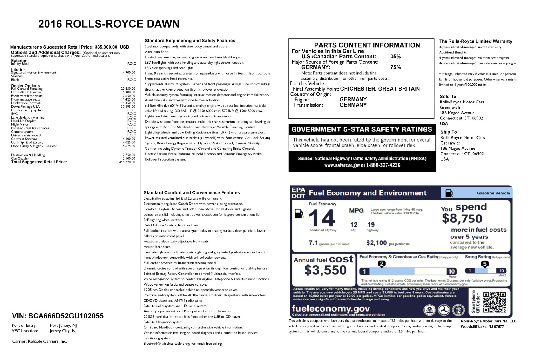 Used 2016 Rolls-Royce Dawn  For Sale In Greenwich, CT. Alfa Romeo of Greenwich, F1860A 2220_p44