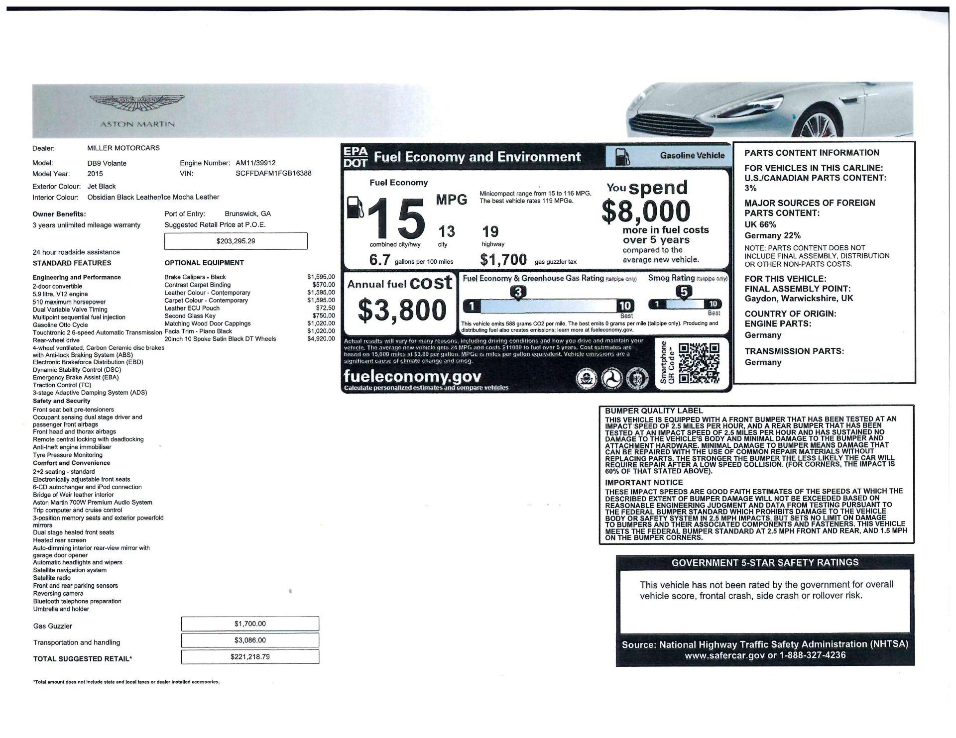 Used 2015 Aston Martin DB9 Volante For Sale In Greenwich, CT. Alfa Romeo of Greenwich, 7389 2318_p25