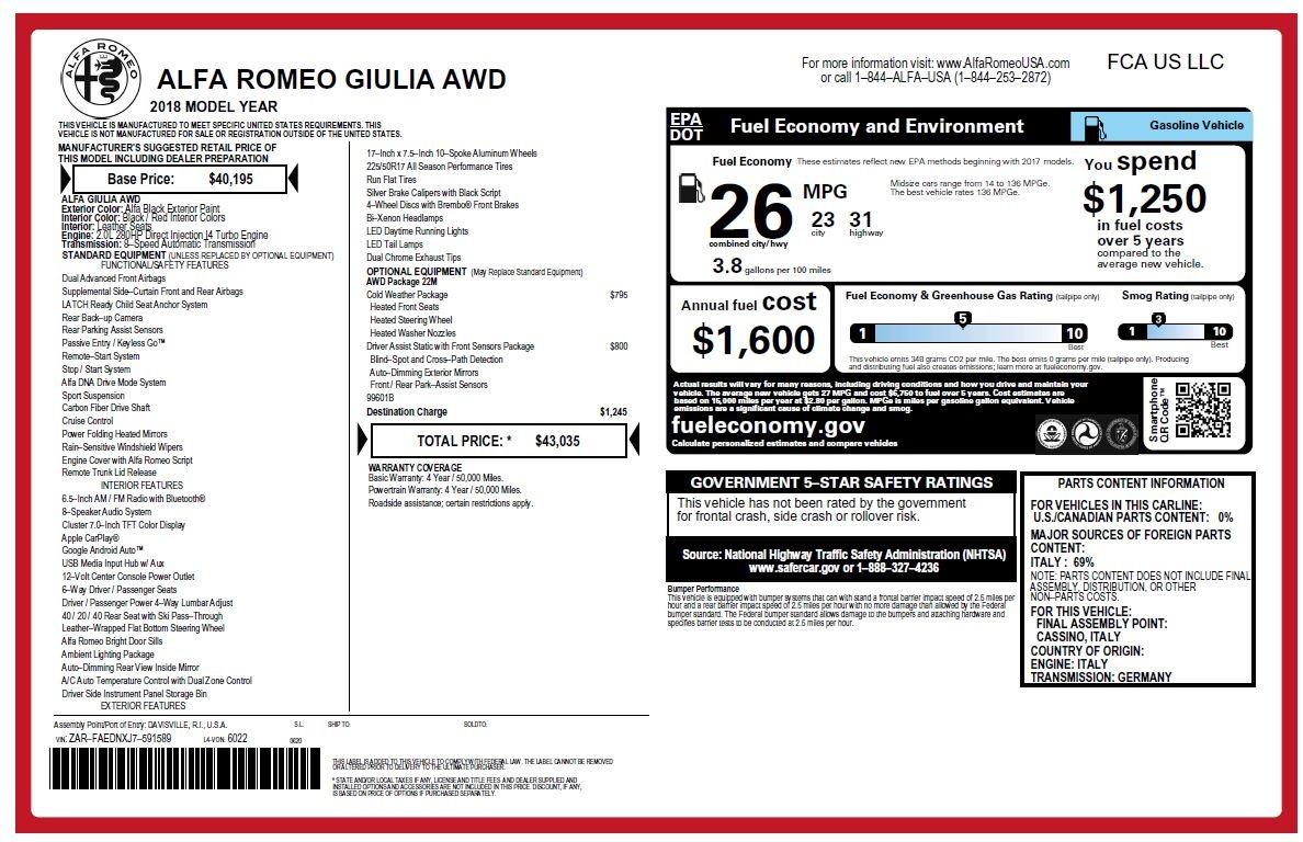 New 2018 Alfa Romeo Giulia Q4 For Sale In Greenwich, CT. Alfa Romeo of Greenwich, LW200 2395_p26