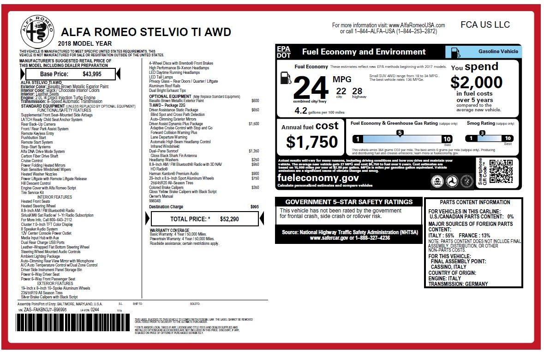 New 2018 Alfa Romeo Stelvio Ti Q4 For Sale In Greenwich, CT. Alfa Romeo of Greenwich, LW209 2417_p26