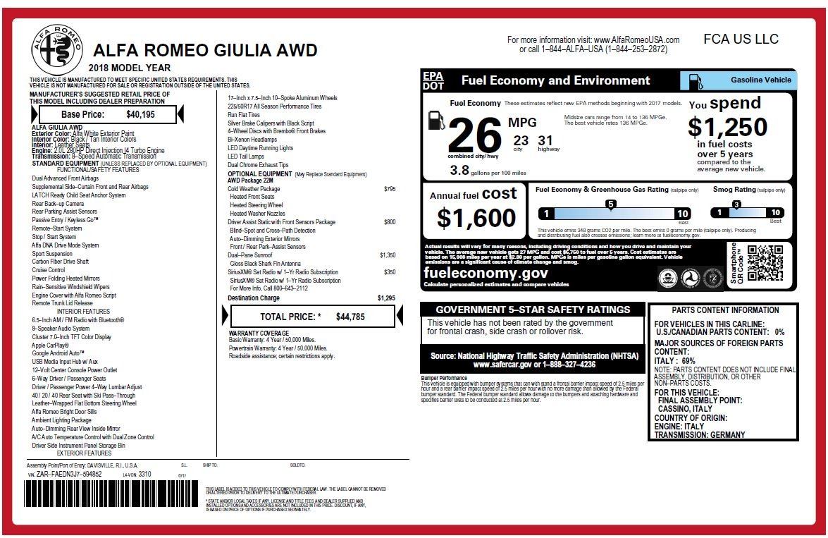New 2018 Alfa Romeo Giulia Q4 For Sale In Greenwich, CT. Alfa Romeo of Greenwich, LW214 2437_p26