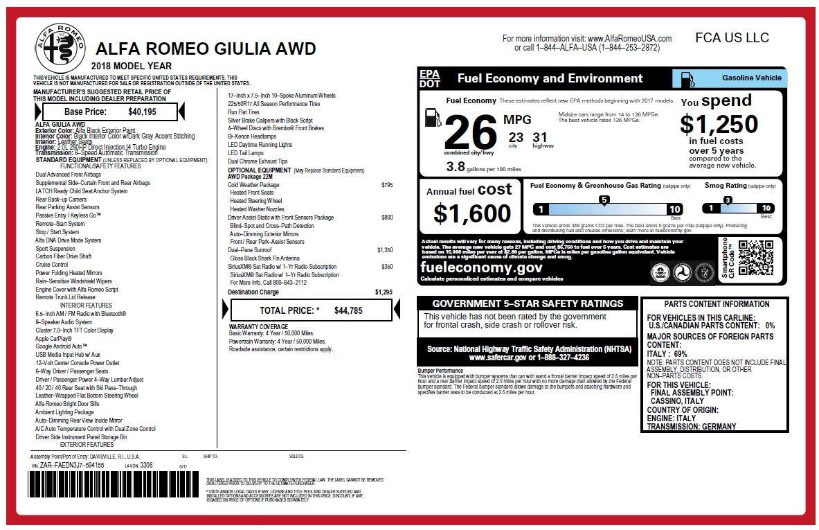 New 2018 Alfa Romeo Giulia Q4 For Sale In Greenwich, CT. Alfa Romeo of Greenwich, LW215 2438_p25
