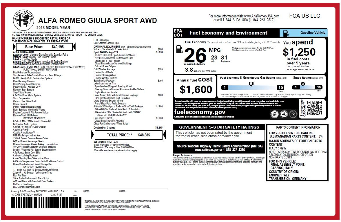 New 2018 Alfa Romeo Giulia Sport Q4 For Sale In Greenwich, CT. Alfa Romeo of Greenwich, L449 2440_p20