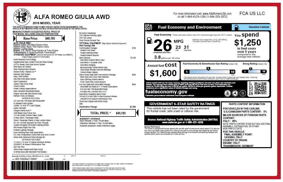 New 2018 Alfa Romeo Giulia Q4 For Sale In Greenwich, CT. Alfa Romeo of Greenwich, LW219 2453_p26
