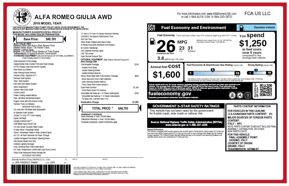 New 2018 Alfa Romeo Giulia Q4 For Sale In Greenwich, CT. Alfa Romeo of Greenwich, LW220 2454_p2