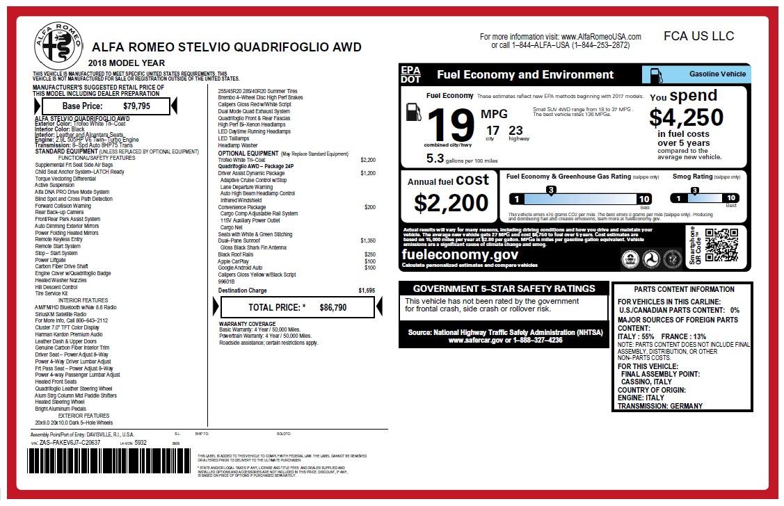New 2018 Alfa Romeo Stelvio Quadrifoglio Quadrifoglio For Sale In Greenwich, CT. Alfa Romeo of Greenwich, LW222 2456_p31