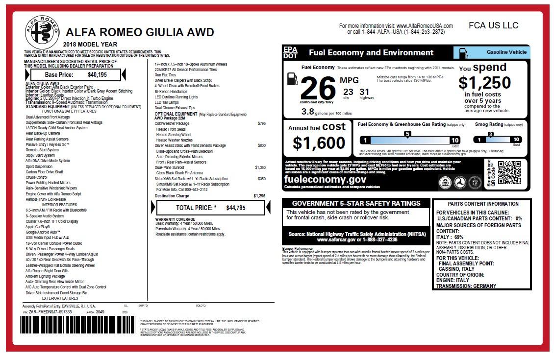 New 2018 Alfa Romeo Giulia Q4 For Sale In Greenwich, CT. Alfa Romeo of Greenwich, L464 2467_p2