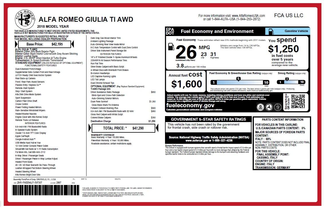 New 2018 Alfa Romeo Giulia Ti Q4 For Sale In Greenwich, CT. Alfa Romeo of Greenwich, L465 2468_main