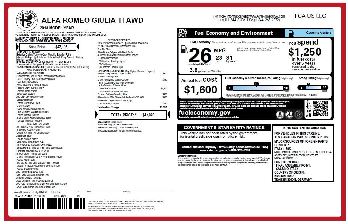 New 2018 Alfa Romeo Giulia Ti Q4 For Sale In Greenwich, CT. Alfa Romeo of Greenwich, L466 2469_main
