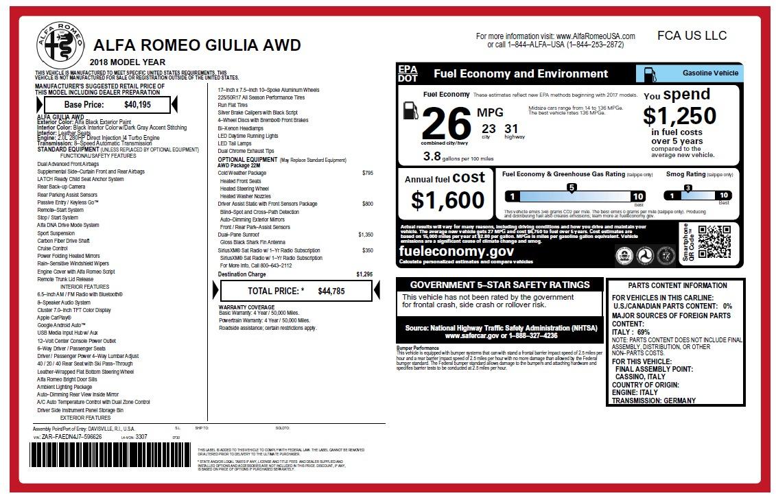 New 2018 Alfa Romeo Giulia Q4 For Sale In Greenwich, CT. Alfa Romeo of Greenwich, LW224 2476_p22