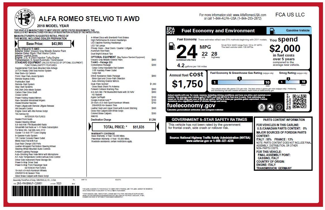 New 2018 Alfa Romeo Stelvio Ti Q4 For Sale In Greenwich, CT. Alfa Romeo of Greenwich, LW231 2480_p26