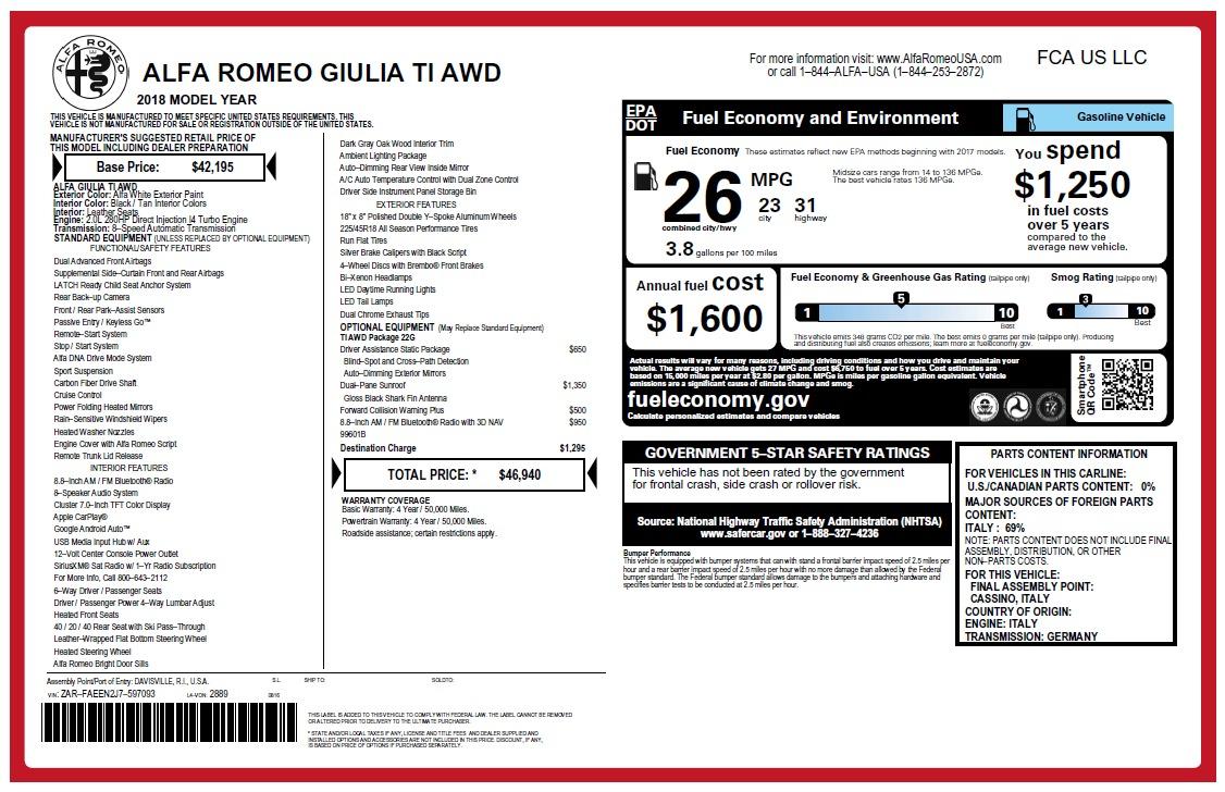 New 2018 Alfa Romeo Giulia Ti Q4 For Sale In Greenwich, CT. Alfa Romeo of Greenwich, L472 2483_p2