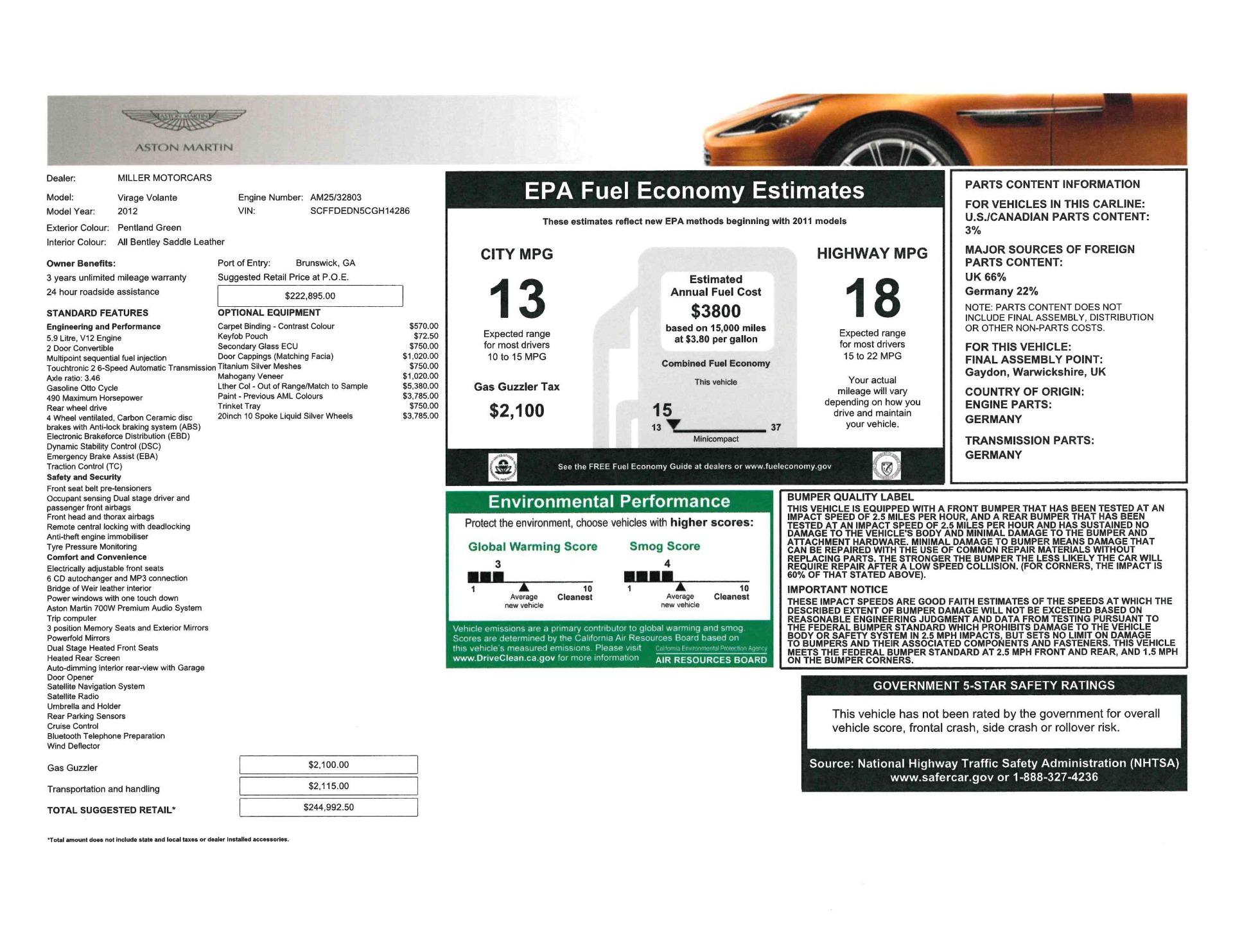 Used 2012 Aston Martin Virage Volante For Sale In Greenwich, CT. Alfa Romeo of Greenwich, 7641 2508_p27