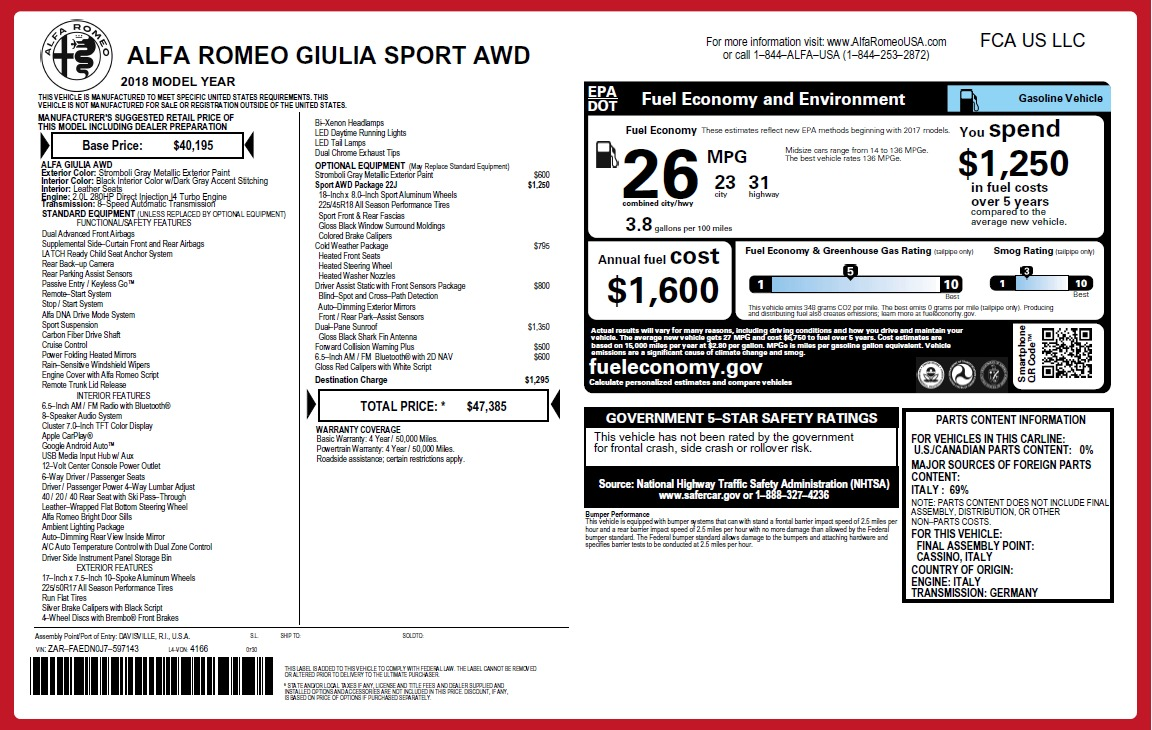 New 2018 Alfa Romeo Giulia Sport Q4 For Sale In Greenwich, CT. Alfa Romeo of Greenwich, LW234 2509_p2